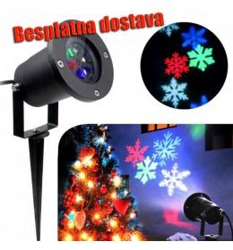 Novogodišnji LED Projektor Sa Rotirajućim Pahuljicama i Novogodišnjim Figurama