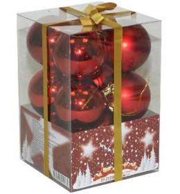Novogodišnji ukrasi za jelku 12 crvenih kugli 6cm