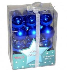 Novogodišnji ukrasi za jelku 24 plave kugle