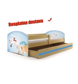 Dečiji krevet Lookie Pine 160x80 cm sa dušekom dezen 01