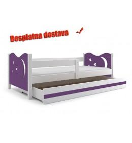 Dečiji krevet Elegant White ljubičasti 160x80 cm sa fiokom i dušekom