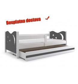 Dečiji krevet Elegant White sivi 160x80 cm sa fiokom i dušekom