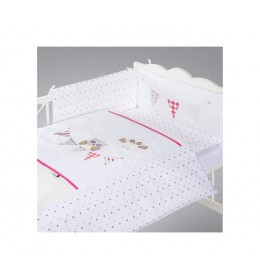 Posteljina za bebu Set 5 delova Night birds pink