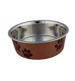 Posuda za psa Šapice 12 cm Narandjasta-Braon