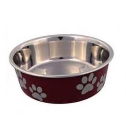 Posuda za psa Šapice 12 cm Crvena