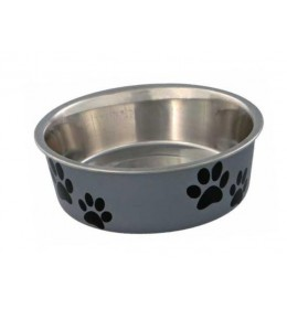 Posuda za psa Šapice 14 cm Siva