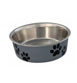 Posuda za psa Šapice 12 cm Siva