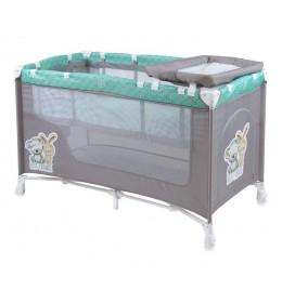 Prenosivi krevetac Baby nanny 2 nivoa Grey & Green Friends