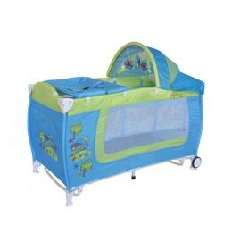 Prenosivi krevetac Danny 2 nivoa Rocker Blue & Green Car