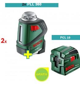 Samonivelušući laser za linije Bosch PLL 360  2 kom + Laser za ukrštene linije Bosch PCL 10
