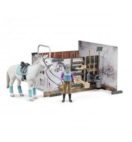 Set štala sa opremom figura džokej i konj Bruder