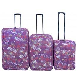 Set putnih kofera 51/61/71 cm Enova MARBELLA Purple flowers