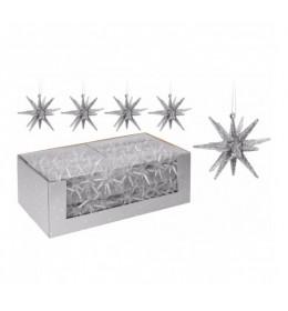 Set ukrasa za jelku-zvezda 4 komada srebrna