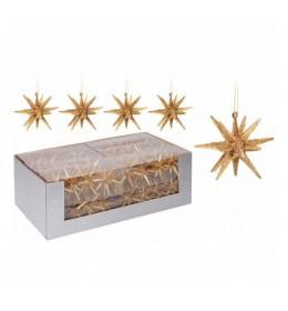 Set ukrasa za jelku-zvezda 4 komada zlatna