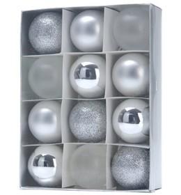 Set ukrasa za jelku kugle 12 komada srebrne