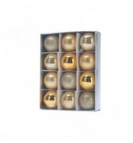 Set ukrasa za jelku kugle 12 komada zlatne