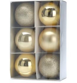 Set ukrasa za jelku kugle 6 komada zlatna