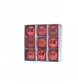 Set ukrasa za jelku kugle 9 komada crvene