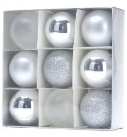 Set ukrasa za jelku kugle 9 komada srebrne