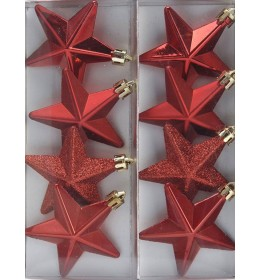 Set ukrasa za jelku zvezde crvene