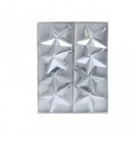 Set ukrasa za jelku zvezde srebrne