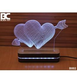 3D lampa Srca Strela toplo bela
