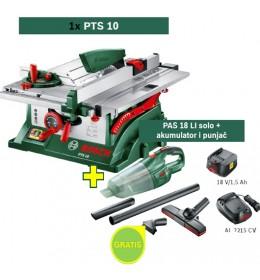Stona kružna testera Bosch PTS 10 + Aku usisivač PAS 18 LI solo+ akumulator i punjač