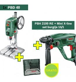 Stubna bušilica Bosch PBD 40 + Hamer bušilica Bosch PBH 2100 RE + Mini X-line set burgija 15/1