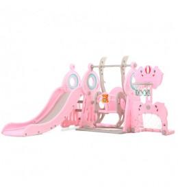 Dečiji set 4U1 Tobogan, ljuljaška, Koš i go 012 Pink