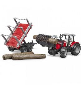 Traktor Bruder Massey Ferguson 7480 sa prikolicom za drva 020460