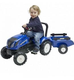 Traktor na pedale Falk New Holland sa prikolicom - plavi