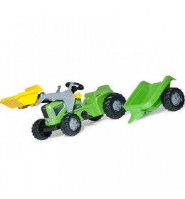 Traktor na pedale RollyToys Kiddy Futura zeleni s prikolicom i utovarivačem