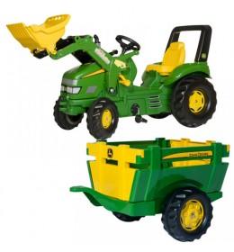 Traktor na pedale RollyToys X Track John Deer sa prikolicom  i utovarivačem