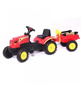 Traktor na pedale sa prikolicom 01 crveni