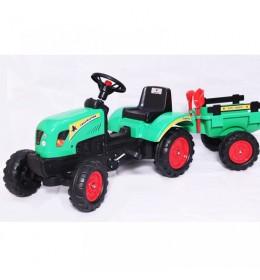 Traktor na pedale sa prikolicom 01 zeleni