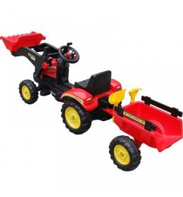 Traktor na pedale sa prikolicom i kašikom 05 crveni