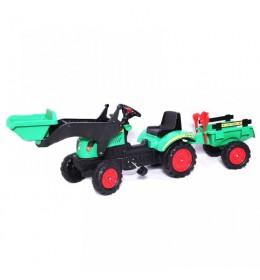 Traktor na pedale sa prikolicom i kašikom 05 zeleni