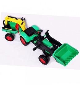 Traktor na pedale sa prikolicom i kašikom 09 zeleni