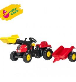 Traktor na pedale sa prikolicom i utovarivačem Rolly Kid-X crveni