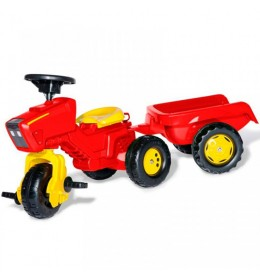 Traktor na pedale Trike sa prikolicom crveni