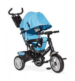 Tricikl Guralica 417-1 Comfort sa podesivim naslonom i tendom od lanenog platna Plavi