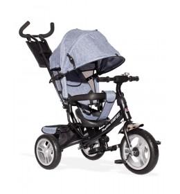 Tricikl Guralica 417-1 Comfort sa podesivim naslonom i tendom od lanenog platna Sivi