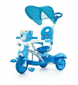 Tricikl sa drškom i suncobranom plavi meda