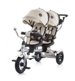 Tricikl za blizance Tandem bež