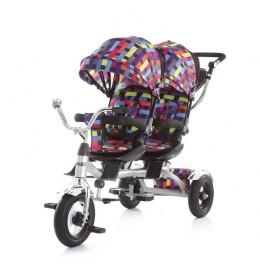 Tricikl za blizance Tandem multicolor