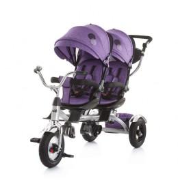 Tricikl za blizance Tandem purple