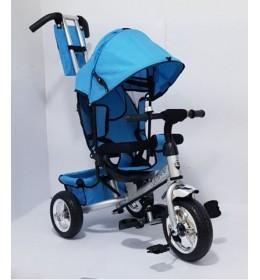 Tricikl za decu Model 02 sa rotirajućim sedištem i gumama na pumpanje Plavi
