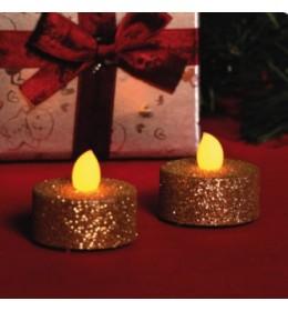 Ukrasne sveće sa zlatnim šljokicama 2kom  CD2/GX