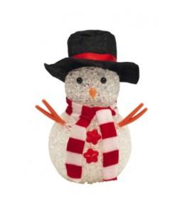 Ukrasni sneško belić 12 cm sa šeširom KKD105