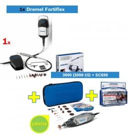 Višenamenski alat DREMEL Fortiflex + Višenamenski alat DREMEL 3000 sa 15 kom pribora + set pribora SC690